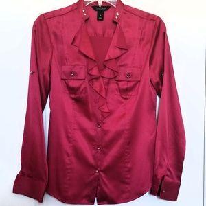 White House Black market cranberry silk shirt